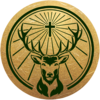 Gold seal with green background small